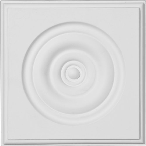 Medallion-block (ekena PB05X 05X 01TR 53/4-Zoll Breite x 53/4-Zoll Höhe x 11/8Projektion Traditionelle Bullseye Sockel, Block, Grundiert)