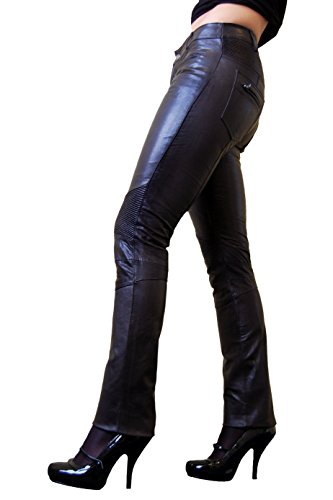 RICANO DONNA Damen Lederhose, Ziegen Nappa Echtleder (Schwarz, XL)