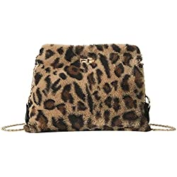 Sylar Bolso Para Mujer Elegantes Moda Estampado De Leopardo Felpa Corta Mini Bolso Bandolera Cadena Bolso De Mano Monedero Billetera 22x8x17cm
