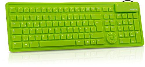 Speedlink Rugg flexible Silikon Tastatur (geräuscharme Tasten, aufrollbar, spritzwassergeschützt, USB) grün