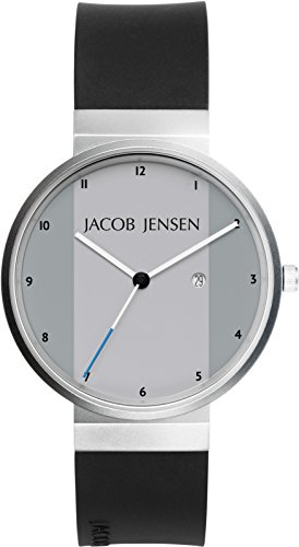 Jacob Jensen New Series Men's Quartz Watch with Silver Dial Analogue Display and Black Rubber Strap 731