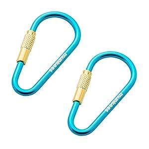 munkees Mini Link Karabiner Schlüsselanhänger - Ø 3 x 48 mm mit Schraubverschluss (2 Stück), Blau, 32016