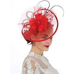 LUCKY Leaf Las mujeres chica tocados pelo Clip Horquilla sombrero boda coctel Tea Party sombrero de la pluma (8-Rojo)