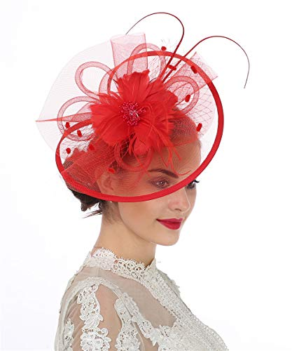 Lucky Leaf Fascinator-Hut / Haarschmuck mit Clip für Damen und Mädchen, mit Federschmuck, geeignet für Hochzeit, Cocktail, Party Gr. 56, 8-red