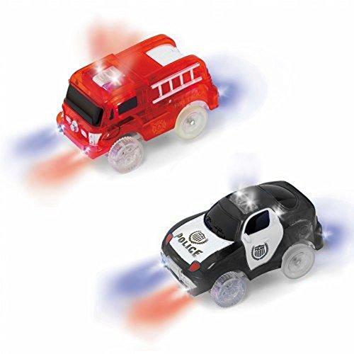 MIGE Auto Spur Polizei Einsatzwagen und Feuerwehrauto Electric Auto Leuchten im Dunkeln mit Magic Tracks für Kinder 3 Jahre und Bis Packung von 2 (rot + schwarz)