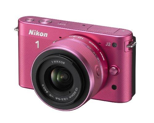 Nikon 1 J2 Systemkamera (10,1 Megapixel, 7,5 cm (3 Zoll) Display) Kit inkl. Nikkor VR 10-30 mm pink 10,1 Mp Cmos-sensor