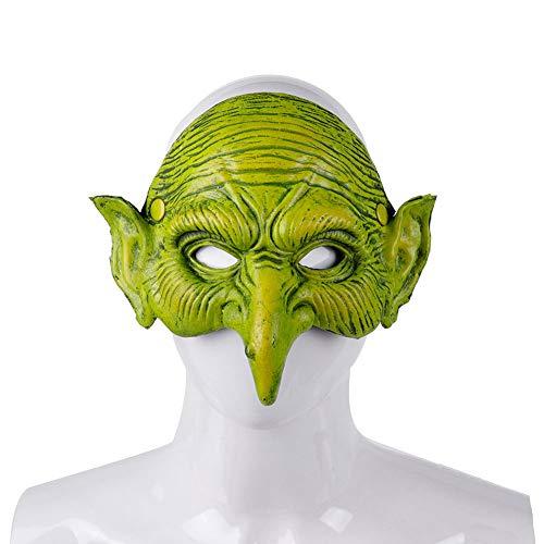 Alle Schwarz Beängstigend Kostüm - FYYTRL Lange Nase Hexe Maske, Neuheit Halloween Kostüm Party Kleid Maske, beängstigend Halbmaske, grün