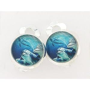 Kinder Ohrclips oder Stecker Delfine 10mm Motiv Mädchen Cabochon Ohrringe handgefertigt by Schmuckphantasien in silber…
