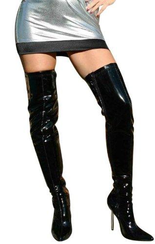 Laque eROGANCE high heels bottes overkneestiefel eU 37 à 46/a10907A noir Noir - Noir