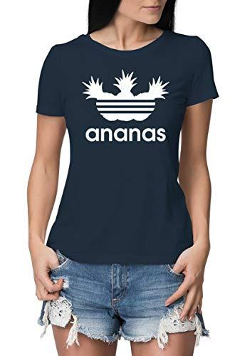 Lustig Navy T-shirts (Damen T-Shirt mit Aufdruck Ananas - ENG ANLIEGENDE Premium Tshirts - lustiges T Shirt Bedruckt mit Logo Parodie Navy-Weiß 36-38 (Herstellergröße M))