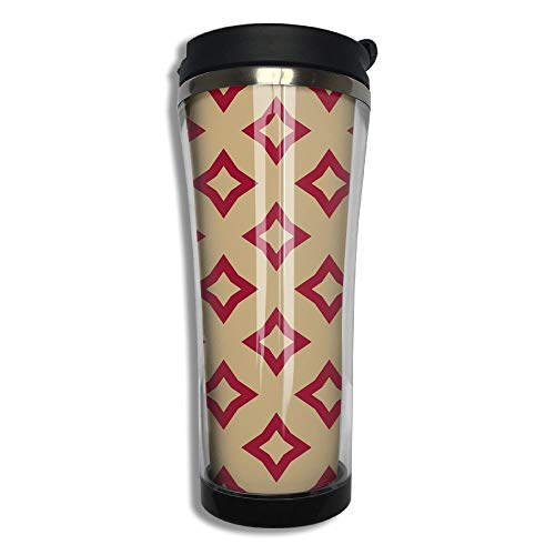 Stainless Steel Travel Mug Red And Gold Geometric Coffee Cup Tumbler With Lid 14.3 Oz -