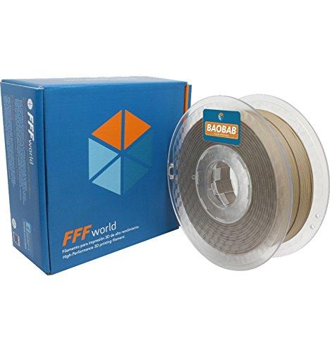 FFFworld 1 kg. Baobab 1.75 mm - Filamento de Madera para Impresora 3D - Wood Filament for 3D Printer