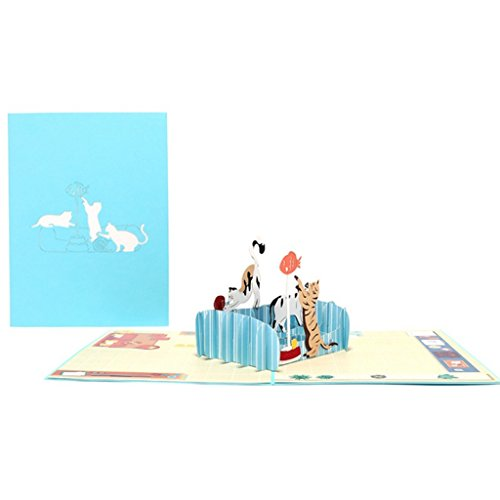 5AC100947 DIY Grußkarten handgefertigt Geburtstag Hochzeit Einladung 3D Pop Up Karte Katze Fisch