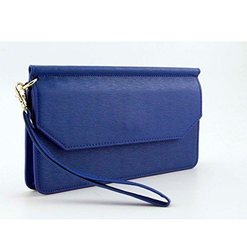 Heart&M Einfach einfarbig Reißverschluss Frauen Brieftasche Leder Damen Hand Tasche Handy Ledertasche Blue