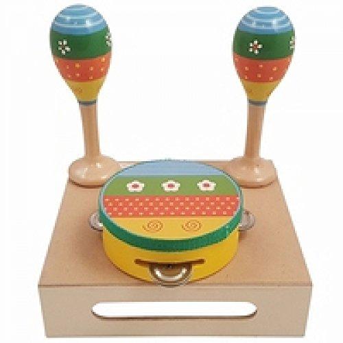 Musik-Set Trommel und Rassel | Tamburin und Rassel | Musikinstrument für die Frühförderung | Kinder-Musikinstrument | Motorikspielzeug | Musikinstrumente für die Kleinsten | von Holzspielzeug Peitz …