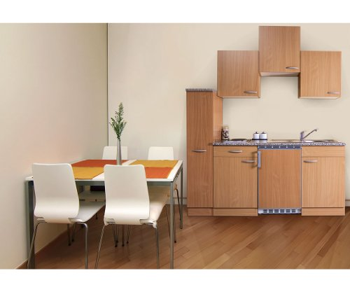 respekta Küchenzeile Küchenblock Mini Single Küche Buche 180 cm 150 cm + 30 Apothekerschrank