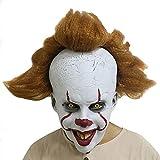 Jourbon Maschera da Clown Raccapricciante Maschera Testa Pennywise in Lattice di Halloween con Capelli Attaccati, Taglia Unica