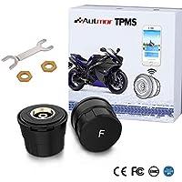 Autmor TPMS Presión de Neumáticos Manómetro de Motocicleta con Función Antirrobo, Sistema de Control de Presión de Neumáticos con 2 Sensores Monitor de Presión Neumáticos Inalámbrico para Motocicleta