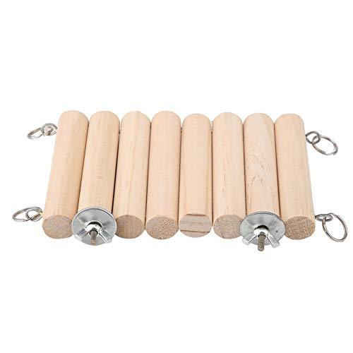 Furnoor-Kleintier-Hamster-Matte, hölzernes buntes Hamster-Sprungbrett-Spielzeug-Schwingen-Papageien-Eichhörnchen-Sprungbrett-Brücken-Spielzeug(Holzfarbe) -