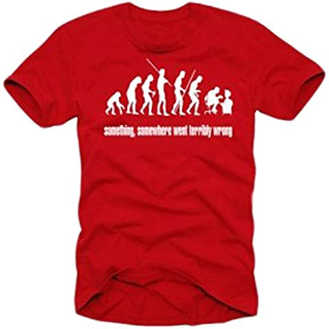Coole-Fun-T-Shirts  Something somewhere pc computer evolution rouge - Camiseta