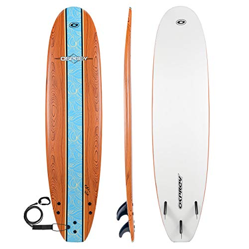 Osprey Soft Beginners Foamie Surfboard Complete with Leash and Fins, Brown, 8 ft
