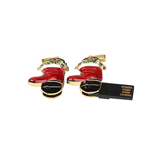 Altsommer Weihnachten Kristall Weihnachtssocke Muster USB 128MB-128GB Metall Mini USB Stick,USB Flash Laufwerk mit Schlüsselanhänger,Memory Stick USB, Stick Speicher Daumen U Disk (16GB) - Usb-11 Flash-speicher-laufwerk