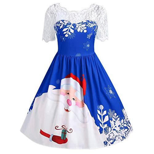 SEWORLD Weihnachten Vintage Retro Christmas Frauen Halbe Hülse Spitze Patchwork Drucken Vintage Kleid Party Kleid(A1-1-blau,EU-40/CN-2XL)
