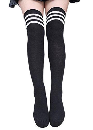 knee-Strümpfe Streifen Lange Sportsocken über Knie Socken (Schwarze Knie-socken)