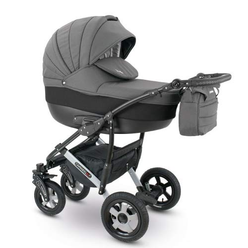 Camarelo SEVILLA 3in1 mit Babyschale, Kombikinderwagen - Kinderwagen - Buggy Farbe XSE-2 dunkelgrau/schwarz