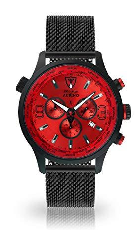 DETOMASO AURINO Reloj Caballero Cronógrafo Analógico Cuarzo Negro Correa Milanesa Correa Roja Esfera DT1061-B-851