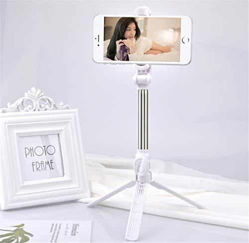 Zmxzmq bluetooth selfie stick, con supporto girevole a 360 gradi e un mini supporto per treppiede rimovibile,white