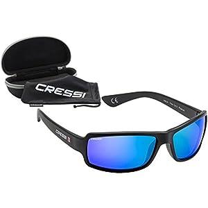 Cressi Ninja Gafas, Unisex Adulto, Negro/Lentes espejados Azul, Talla Única