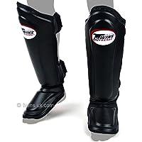 Twins - Espinilleras de cuero acolchado doble para Muay Thai Boxing, color negro, Large