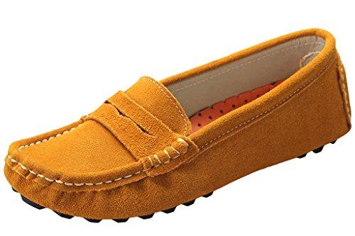 Bdawin Femme Glisser sur Suède Mocassins Confort Conduite Chaussures Flâneurs Jaune