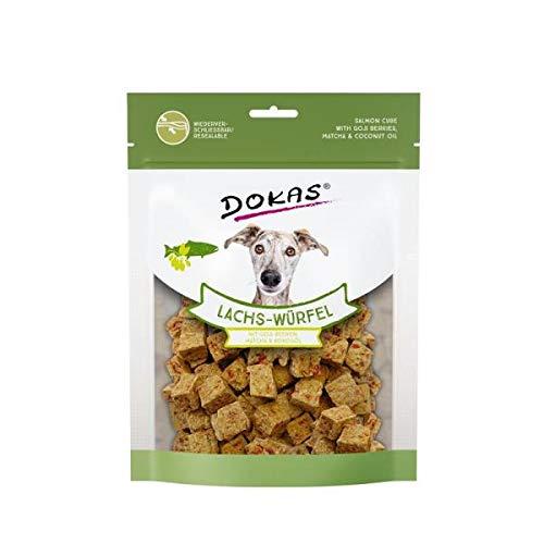 DOKAS Lachs-Würfel - Premium Superfood-Snack für Hunde aus Lachs - Mit Goji Beeren, Matcha & Kokosöl - 1 x 150 g