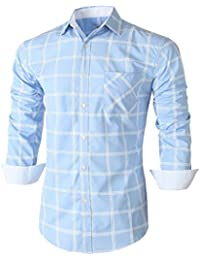 Emiqude Casual homme Slim Fit longtemps poche Plaid contraste robe Chemises habillées à manches