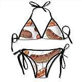 Rghkjlp Women Sexy Swimwear Set Sausage Pattern Tie Side Padding Bathing Swimsuit