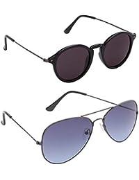 Xforia Anti Glare Latest Round& Aviator Sunglasses For Men & Women Combo Of 2 (DX-FLX- 416 | Black& Blue | 54...