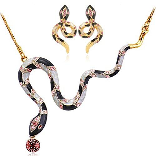 MESE London Ägyptische Schlange Halskette Und Ohrringe Set 18K Gold Uberzogen Kleopatra Anhänger - Elegante Geschenkbox (Set Ägyptische)