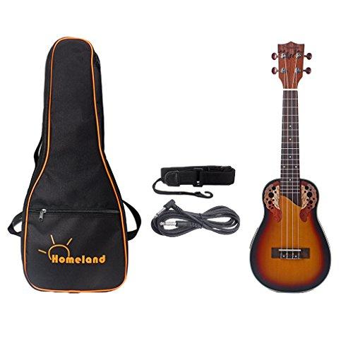 MagiDeal 23inch Konzert Ukulele Hawaii Gitarre Mit Aufbewahrungstasche Gurt 6,35 Mm Kabel
