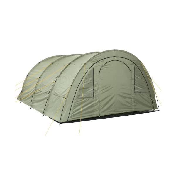 CampFeuer - Tunnel Tent with 2 Sleeping Compartments, Olive-Green, with Groundsheet and Movable Front Wall 2