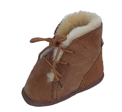 weiche Lammfell Baby Schnür Boots camel, hoch geschnitten, Gerbung ohne schädliche Stoffe, Gr. 17-18 Braun