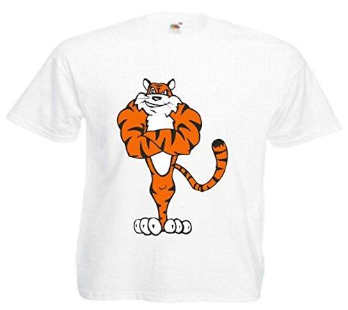Motiv Fun T-Shirt Muskulöser Tiger Cartoon Spass Kult Film Serie Motiv Nr. 12798 Weiß