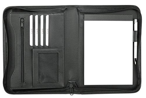 elegante Schreibmappe A5 mit RV - schwarz - Reißverschlussfach - div. Fächer von EuroStyle - Und Ca Rv
