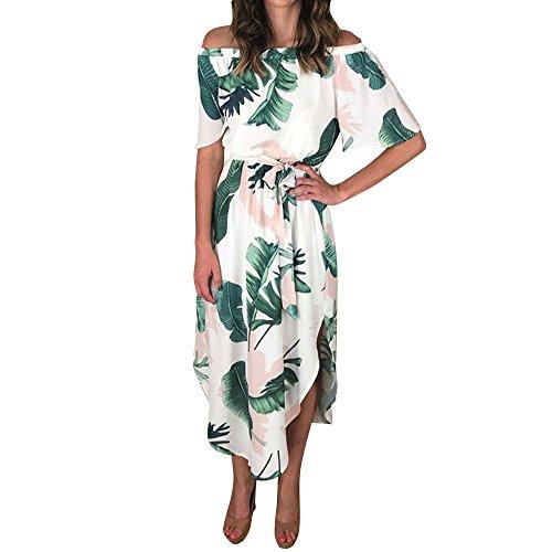 Frauen Sommer Casual T Shirt Kleider Frauen Floral Leaves Print Party Clubwear Kalt Schulterfrei Bohe Kleid GN/S