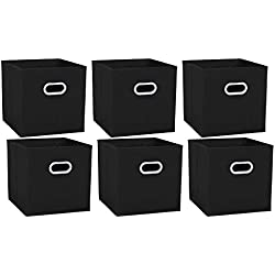 Umi. by Amazon - cube de rangement tissu, caisse de rangement, casier rangement, rangement vetement, boite de rangement tissu, avec 2 Poignées en Plastique,30,5 x 30,5 x 30,5, Noir