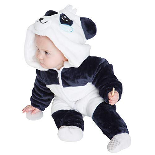 corimori 1850 Mei der Panda Baby Neugeborenen Onesie Jumpsuit Strampler Anzug Kostüm Verkleidung (70-90 cm), Blau Weiß (Panda Kostüm Kind)