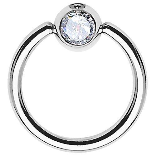 Piersando BCR Piercing Ring Universal Klemmring mit Zirkonia Kristall Klemm Kugel für Septum Brust Tragus Helix Nase Lippe Ohr Intim Nippel Chirurgenstahl Silber Clear 0,8mm x 6mm x 3mm
