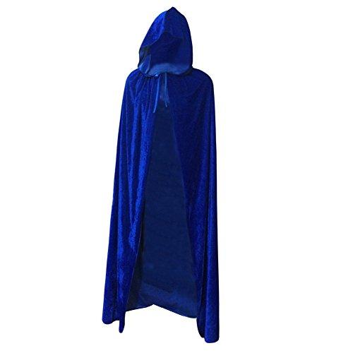 Brightup Gothique Manteau à Capuche En velours Cape Médiévale Sorcellerie Costume Halloween Pour Enfant Adultes Bleu
