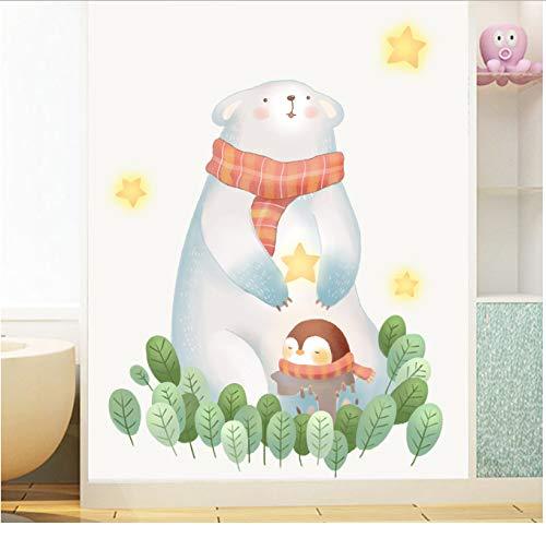 JXSTORE Wandaufkleber für Schlafzimmer Wohnzimmer Mädchen Junge Küche - Bärnpinguinstern Verlässt Tier (Verlässt Thanksgiving Zu)